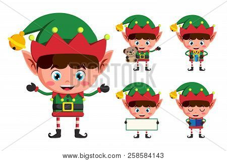 Christmas Elf Vector Character Set. Young Boy Elves Cartoon Charcaters Holding Christmas Elements An