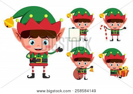 Christmas Elves Vector Character Set. Young Boy Elf Cartoon Characters Holding Christmas Elements An