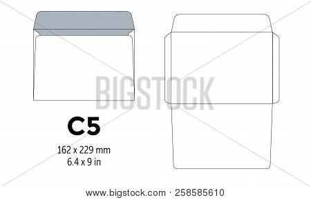 Envelope C5 Template For A4, A5 Paper With Cut Lines. Vector Illustration