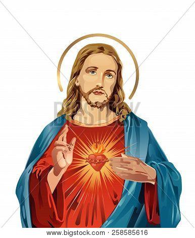 Jesus Christ Sacred Love Peace Faith Holy Spirit Illustration
