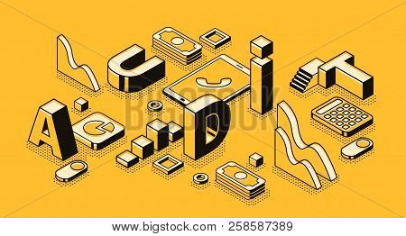 Business Audit Vector Illustration In Letters Design And Isometric Black Thin Line On Yellow Halfton