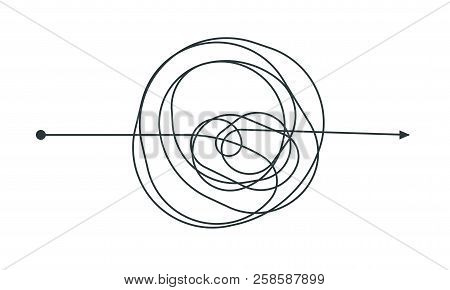 Complicated Thinking Process Line Icon Design. Vector Throught Decision Chaotic Doodle Circle Drawin