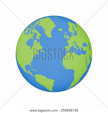 Earth Globe Icon. Vector World Planet Map Illustration With Usa, Europe And Africa