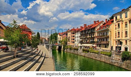 Ljubljana, Slovenia -  June 28, 2014: Old Town Embankment In Ljubljana. Ljubljana Is The Business An