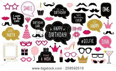 Photo Booth Props Set For Birthday Party. Happy Birthday. Mustache, Funny Phrases, Glasses, Lips, Cr