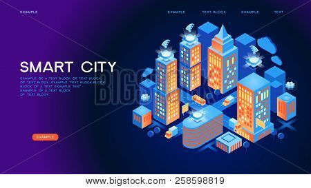 Smart City Or Intelligent Building Isometric Vector Concept. Smart Home Control Concept. Concept Hom