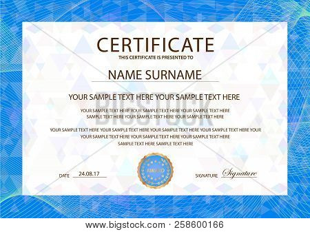 Certificate Template, Blue Guilloche Frame Border.  Design For Diploma, Certificate Of Appreciation,