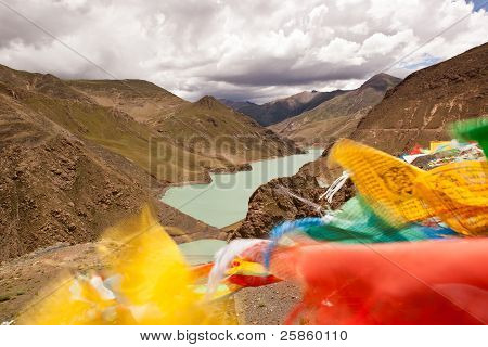 Yamdrok Lake And Flags