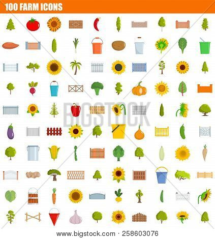 100 Farm Icon Set. Flat Set Of 100 Farm Vector Icons For Web Design