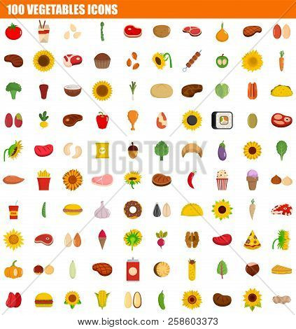 100 Vegetables Icon Set. Flat Set Of 100 Vegetables Vector Icons For Web Design