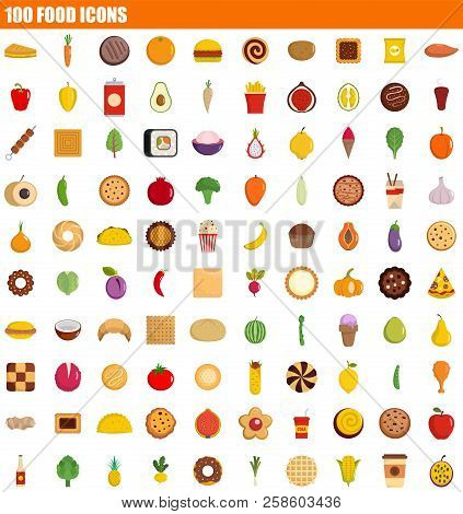 100 Food Icon Set. Flat Set Of 100 Food Vector Icons For Web Design