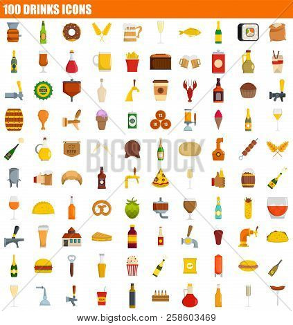 100 Drinks Icon Set. Flat Set Of 100 Drinks Vector Icons For Web Design