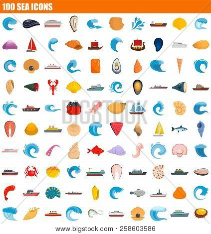 100 Sea Icon Set. Flat Set Of 100 Sea Vector Icons For Web Design