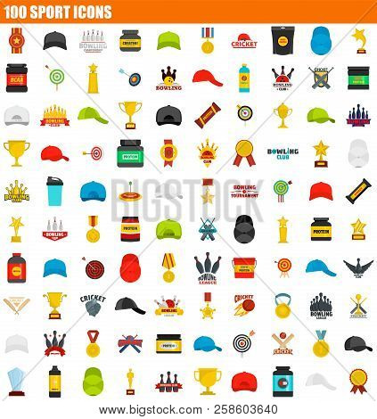 100 Sport Icon Set. Flat Set Of 100 Sport Vector Icons For Web Design