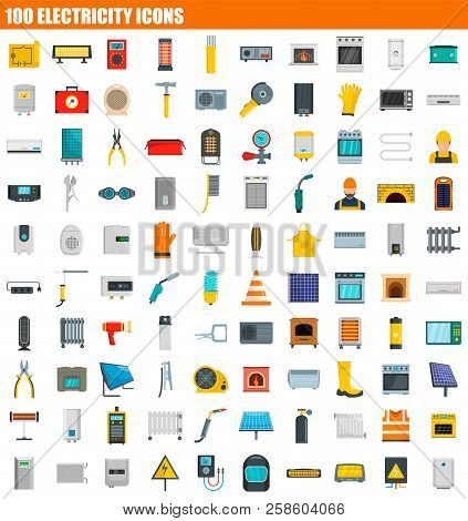 100 Electricity Icon Set. Flat Set Of 100 Electricity Vector Icons For Web Design