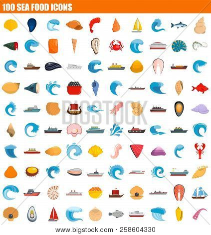 100 Sea Food Icon Set. Flat Set Of 100 Sea Food Vector Icons For Web Design