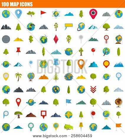 100 Map Icon Set. Flat Set Of 100 Map Vector Icons For Web Design