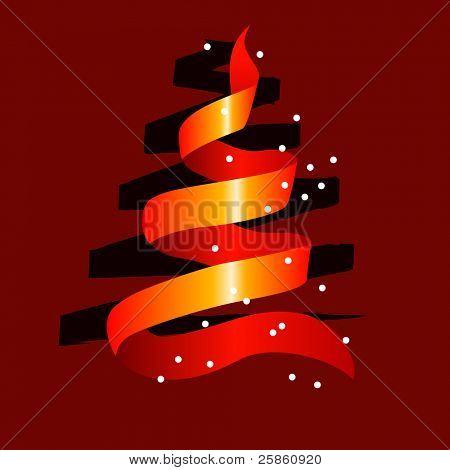 Stylized christmas tree made of red ribbon with snow. Raster version.