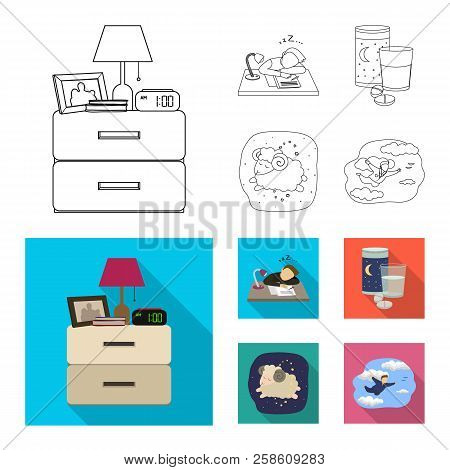 Vector Illustration Of Dreams And Night Logo. Set Of Dreams And Bedroom Stock Symbol For Web.