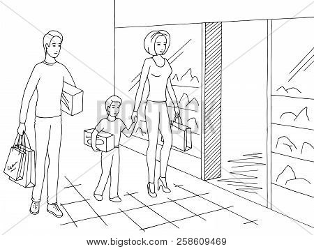 Family Shopping. Happy People Walking In The Mall Graphic Black White Sketch Illustration Vector