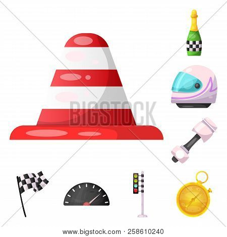 Vector Illustration Of Car And Rally Symbol. Collection Of Car And Race Stock Vector Illustration.