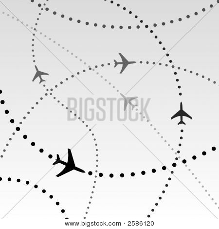 Airplanes Airlines Flight Paths In Sky