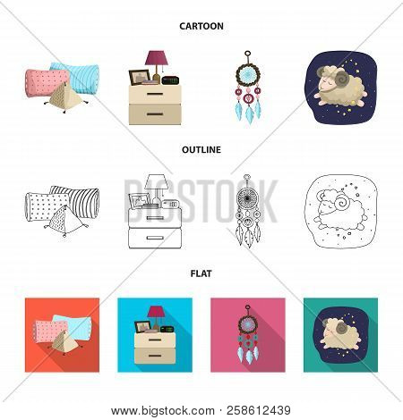 Vector Design Of Dreams And Night Logo. Set Of Dreams And Bedroom Stock Symbol For Web.