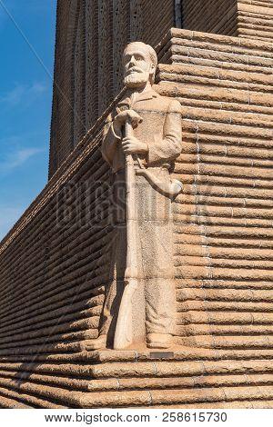 Pretoria, South Africa, July 31, 2018: A Granite Sculpture Of Voortrekker Leader Piet Retief On The