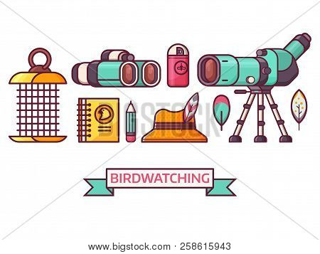 Birding icon set with birdwatcher equipment and elements. Travel scope, binoculars, birder hat and feathers. Ornithology and birdwatching icons in line art. poster