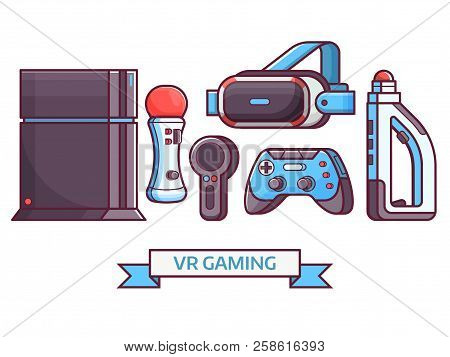 Augmented Reality And Virtual Gaming Icon Set With Vr Devices And Gadgets. Cyberspace And Virtual Re