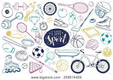 Collection Of Vector Sport Equipment. Doodle Sport Items Illustration. Hand Drawn Sport Balls, Racke