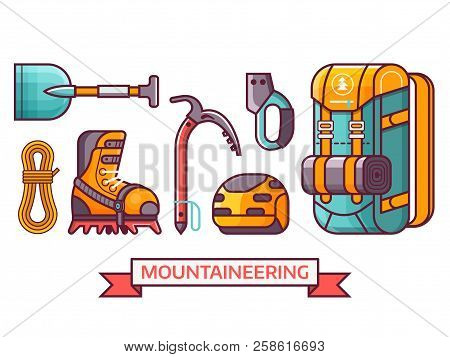 Climbing And Mountain Hiking Icon Set With Professional Mountaineering Equipment. Summer Alpinist Ex