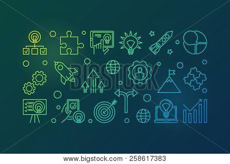 Business Startup Vector Creative Horizontal Banner. Start Up Illustration Made With Start-up Outline