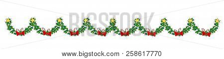 Christmas Seamless Border With Holly Leaves, Holly Berries. Decorative Design Element