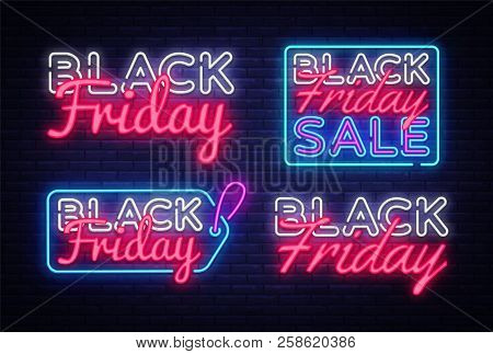 Big Collectin Neon Signs For Black Friday. Neon Banner Vector. Black Friday Neon Sign, Design Templa