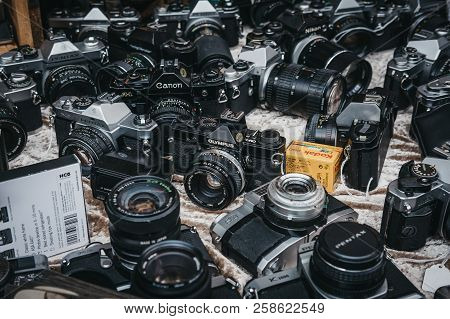 London, Uk - July 21, 2018: Selection Of Old Film Cameras On Sale At Portobello Road Market, Notting