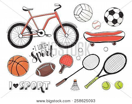 Collection Of Vector Sport Equipment. Illustration Of Handdrawn Sport Items. Hand Drawn Sport Balls,