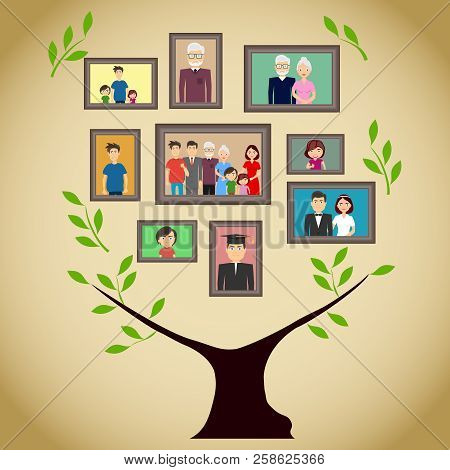Family Tree With Portraits Of Family Members. A Real Family Tree With Photos. Flat Design, Vector Il