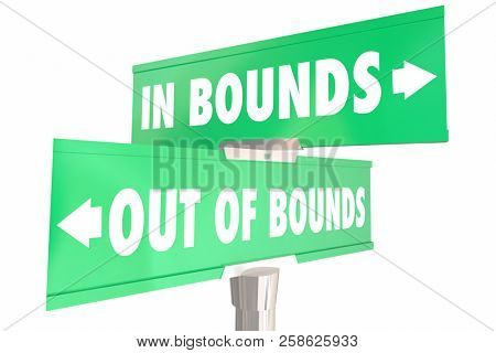 Inbounds Vs Out of Bounds Allowed Restricted 2 Two Way Road Signs 3d Illustration