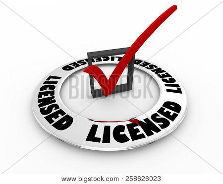 Licensed Certified Licensing Certification Check Mark Box Word 3d Illustration
