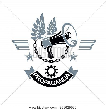 Vector Winged Logo Composed With Megaphone Equipment Surrounded By Iron Chain And Engineering Cog Wh
