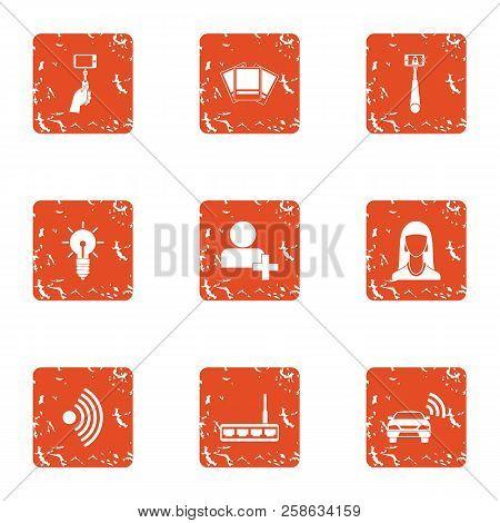 Wireless Lifestyle Icons Set. Grunge Set Of 9 Wireless Lifestyle Icons For Web Isolated On White Bac