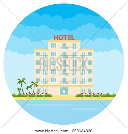 Hotel, A White Hotel On The Beach. Resort Hotel. Flat Design, Vector Illustration, Vector.