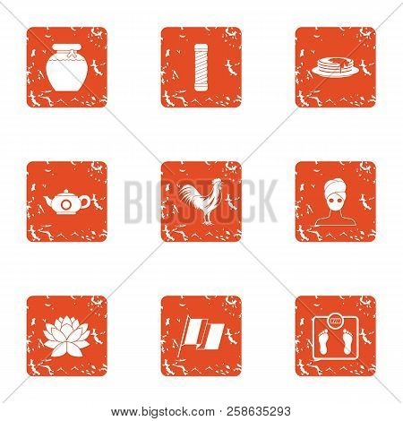 Tea Period Icons Set. Grunge Set Of 9 Tea Period Icons For Web Isolated On White Background