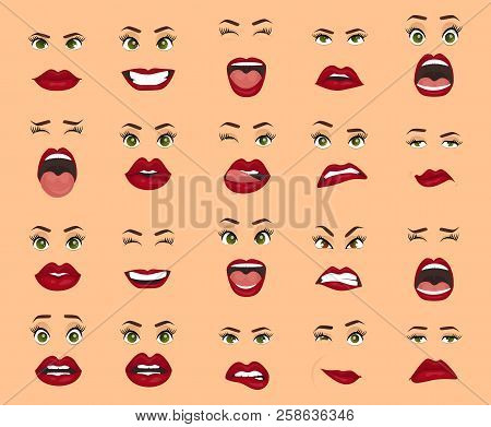 Comic Emotions. Women Facial Expressions, Gestures, Emotions Happiness Surprise Disgust Sadness Rapt