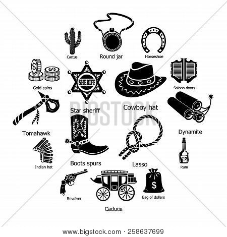 Wild West Icons Set. Simple Illustration Of 16 Wild West Icons For Web