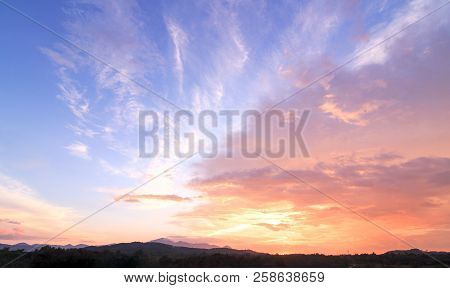 Sun Light And Early Morning Mountain Sky Of Heaven Autumn Background