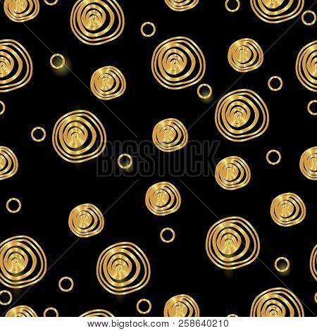 Vector Modern Gold Seamless Geometry Pattern. Gold On Black Seamless Geometric Background, Gold Retr