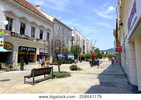 Nitra, Slovakia - August 08, 2018: Street View Of The City Nitra. People Resting And Stroll Along Of