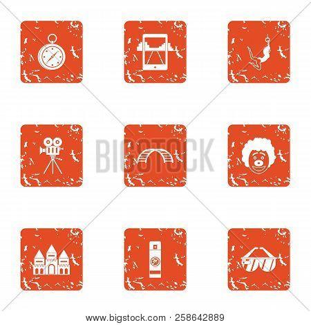Path Icons Set. Grunge Set Of 9 Path Icons For Web Isolated On White Background